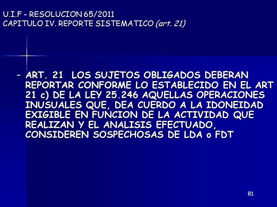 U.I.F - RESOLUCION 65/2011 CAPITULO IV. REPORTE SISTEMATICO (art. 21)