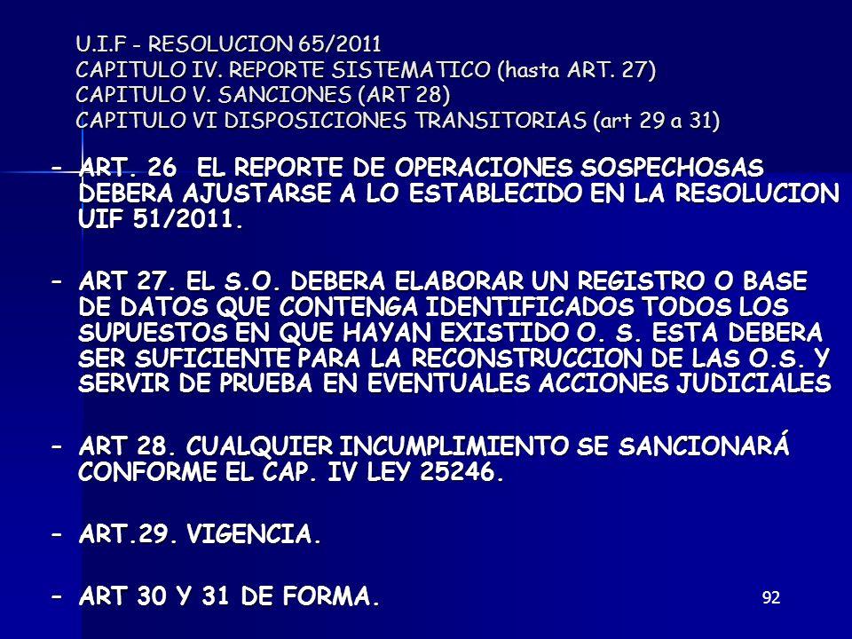 U. I. F - RESOLUCION 65/2011 CAPITULO IV