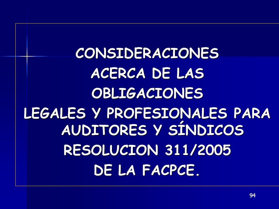 LEGALES Y PROFESIONALES PARA AUDITORES Y SÍNDICOS