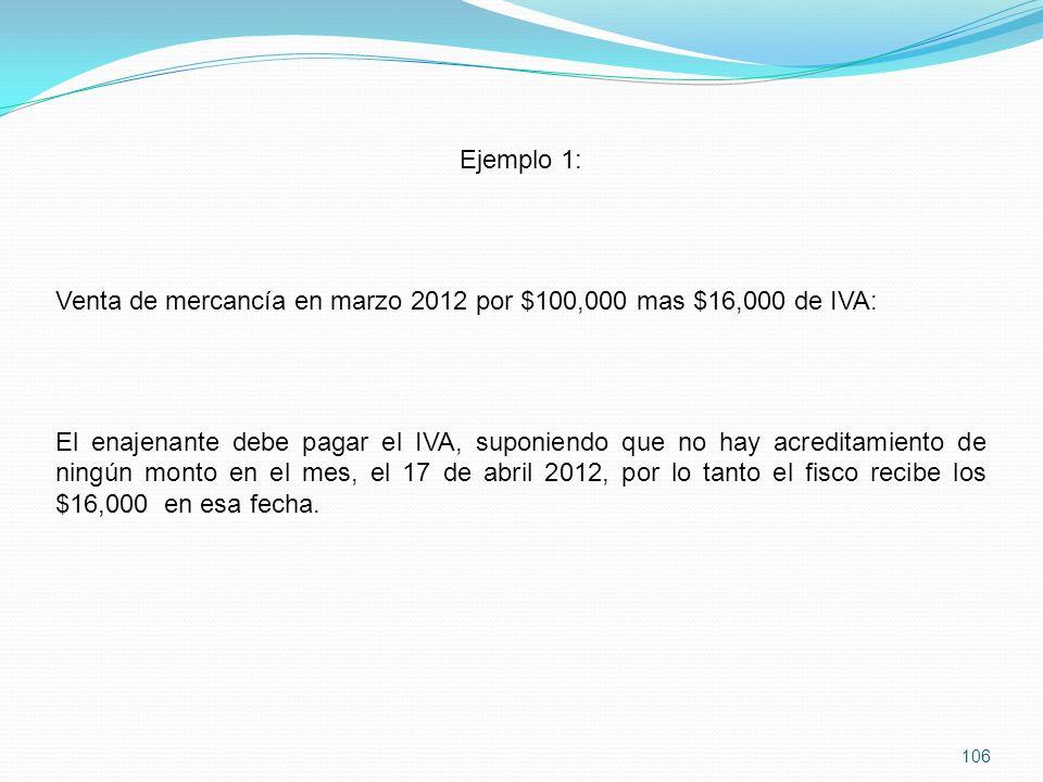 Ejemplo 1: Venta de mercancía en marzo 2012 por $100,000 mas $16,000 de IVA: