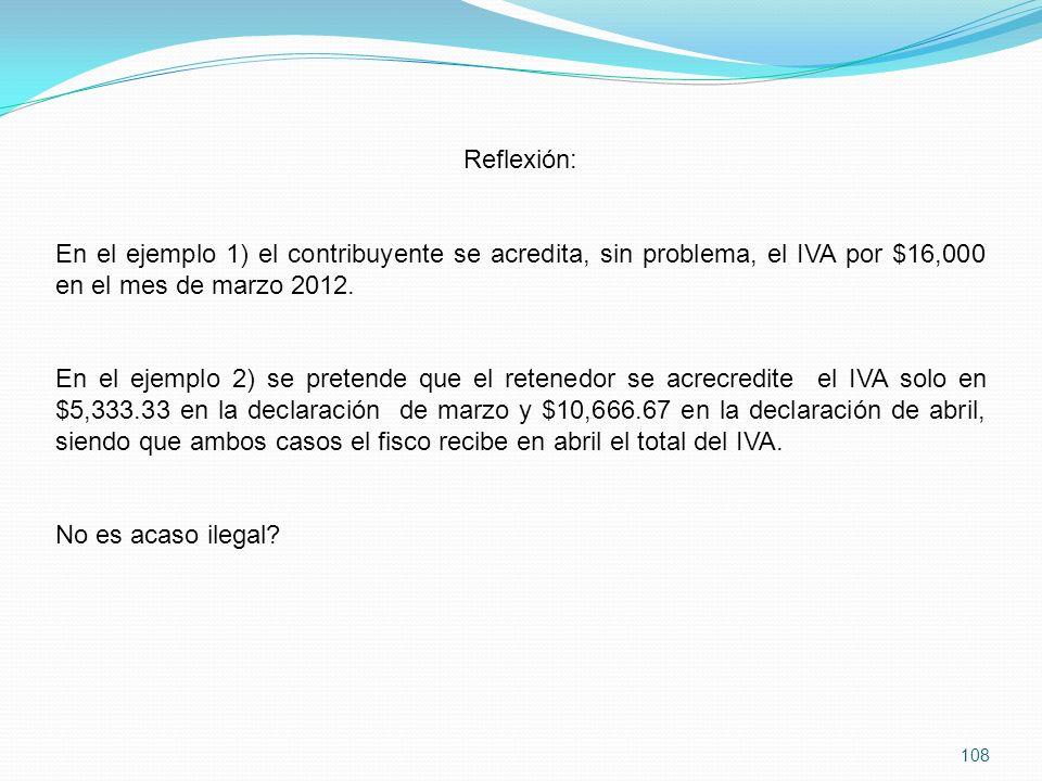 Reflexión: En el ejemplo 1) el contribuyente se acredita, sin problema, el IVA por $16,000 en el mes de marzo 2012.