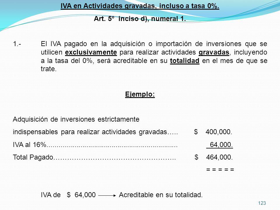 IVA en Actividades gravadas, incluso a tasa 0%.