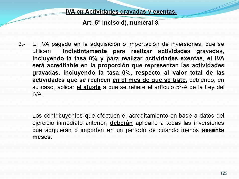 IVA en Actividades gravadas y exentas.