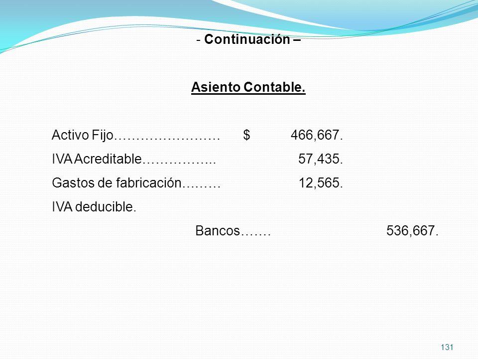 Continuación – Asiento Contable. Activo Fijo…………………… $ 466,667. IVA Acreditable…………….. 57,435.