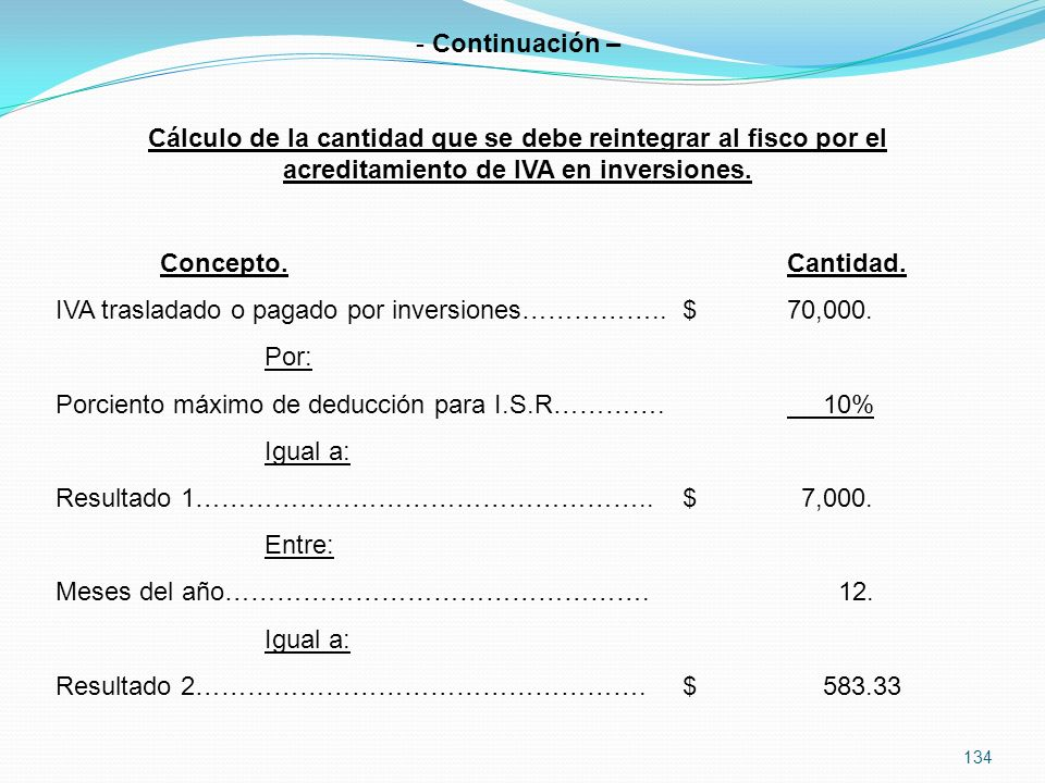 Continuación – Cálculo de la cantidad que se debe reintegrar al fisco por el acreditamiento de IVA en inversiones.