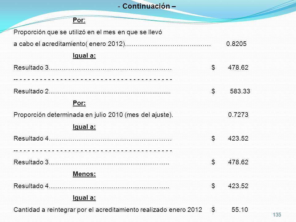 Continuación – Por: Proporción que se utilizó en el mes en que se llevó. a cabo el acreditamiento( enero 2012)…………………………………. 0.8205.