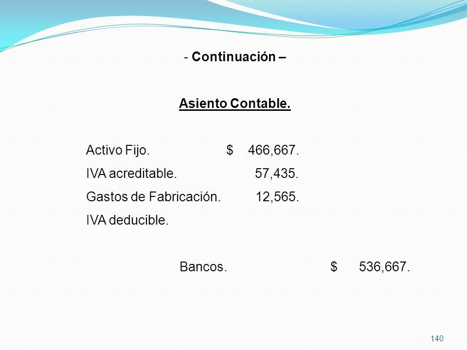 Continuación – Asiento Contable. Activo Fijo. $ 466,667. IVA acreditable. 57,435. Gastos de Fabricación. 12,565.