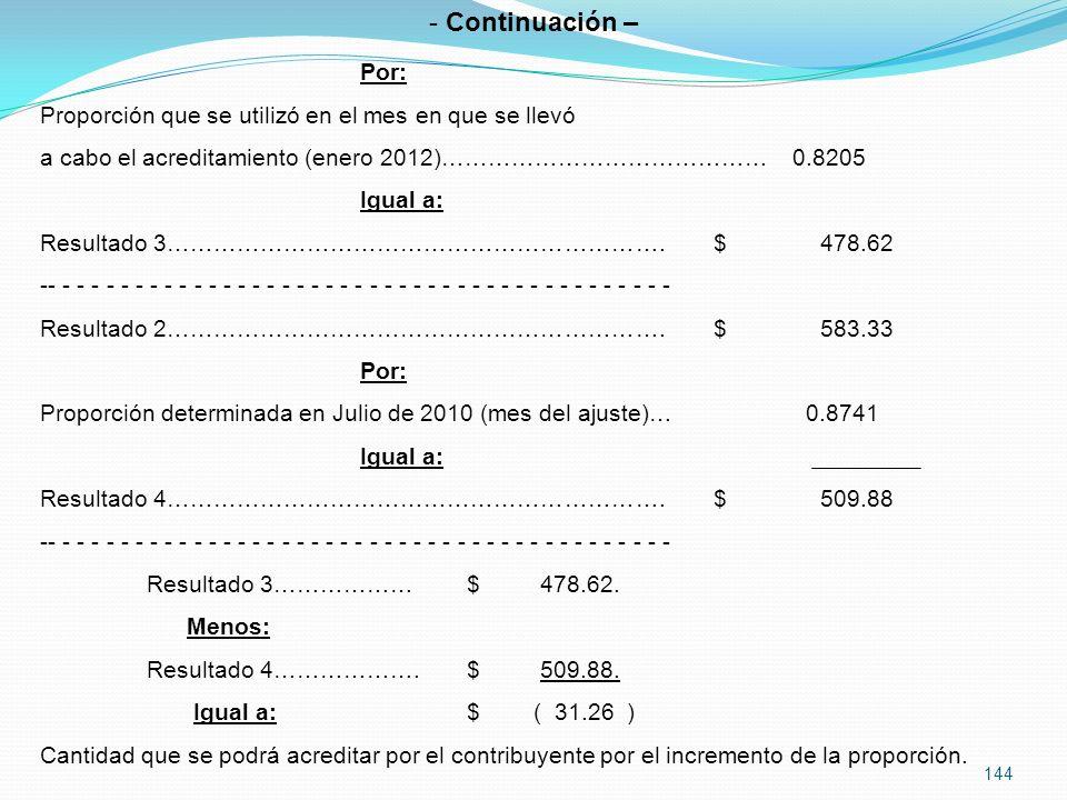 Continuación – Por: Proporción que se utilizó en el mes en que se llevó. a cabo el acreditamiento (enero 2012)…………………………………… 0.8205.