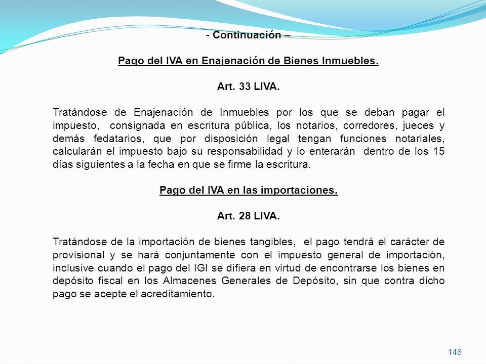 Pago del IVA en Enajenación de Bienes Inmuebles. Art. 33 LIVA.
