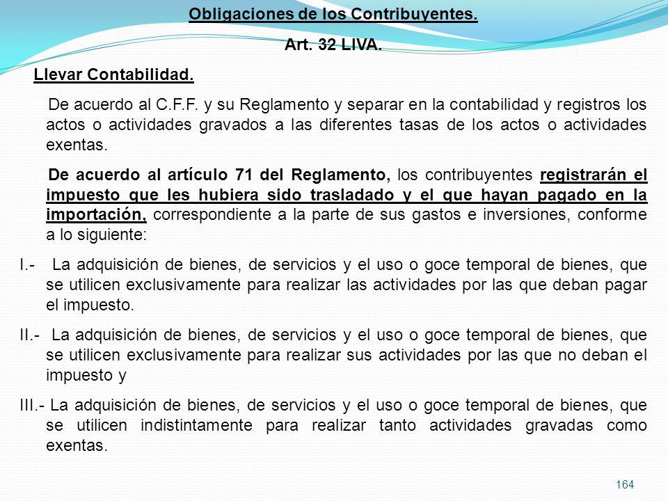 Obligaciones de los Contribuyentes.