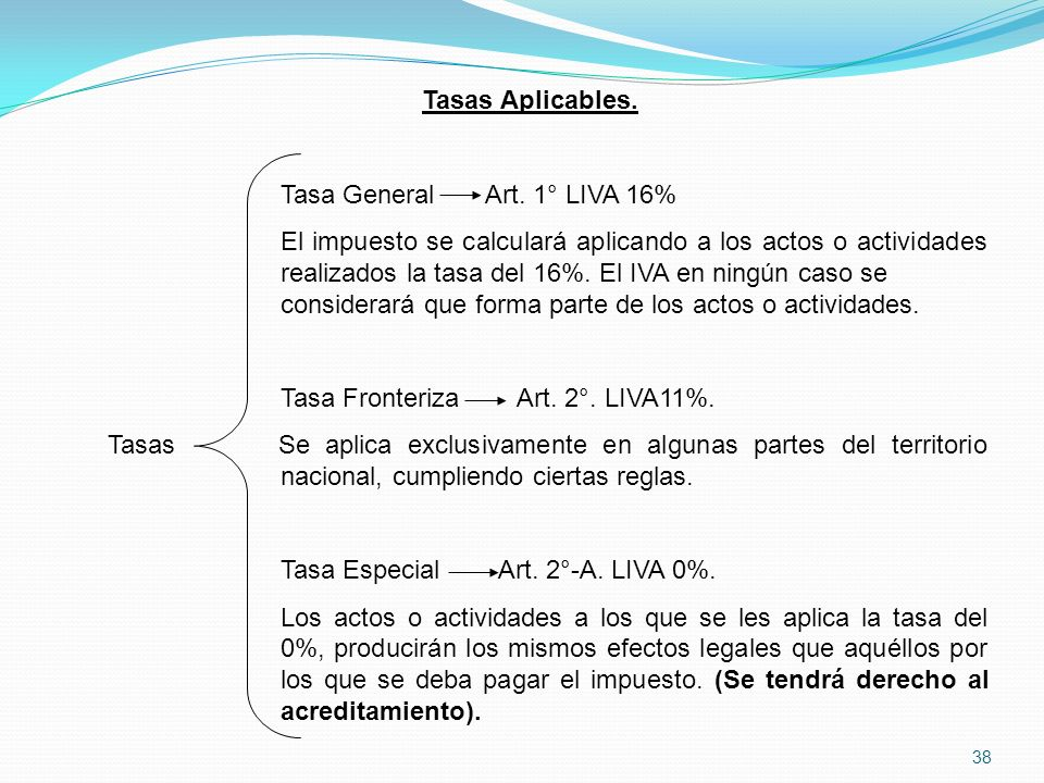 Tasas Aplicables. Tasa General Art. 1° LIVA 16%
