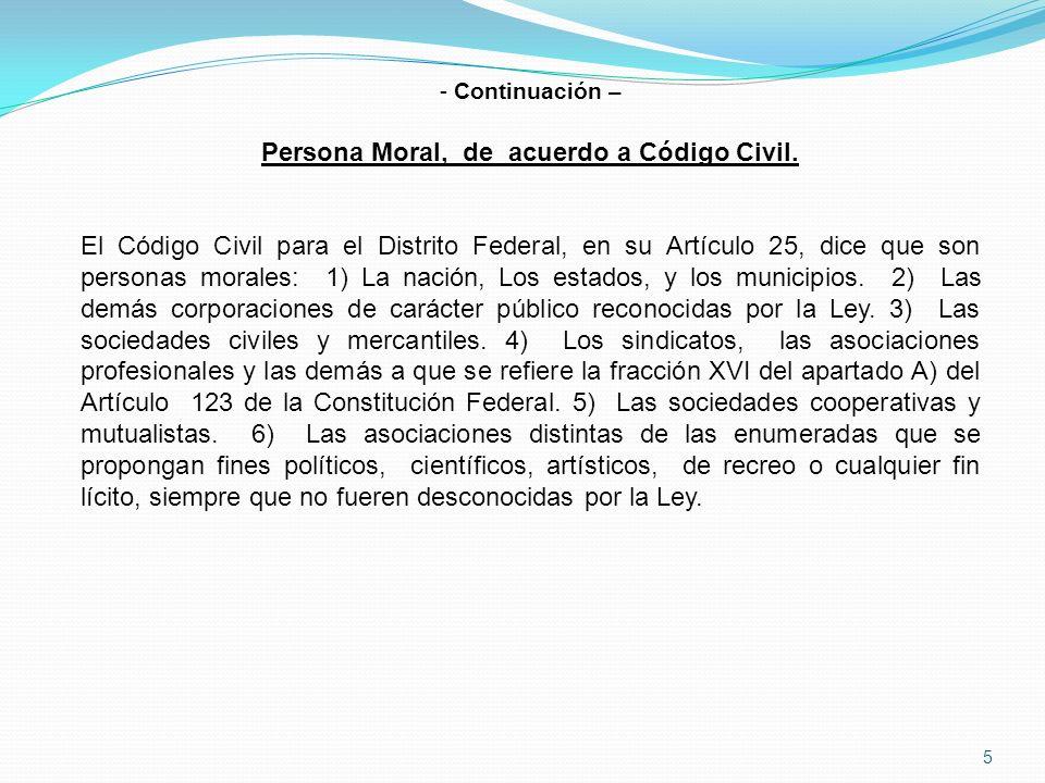 Persona Moral, de acuerdo a Código Civil.
