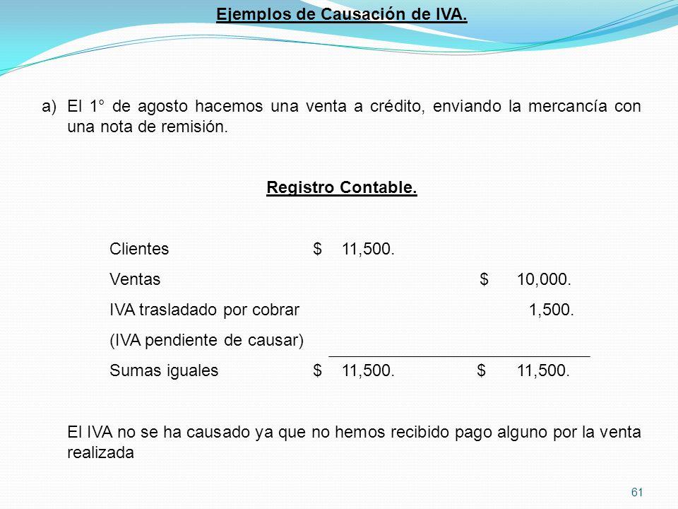 Ejemplos de Causación de IVA.