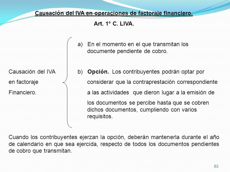 Causación del IVA en operaciones de factoraje financiero.