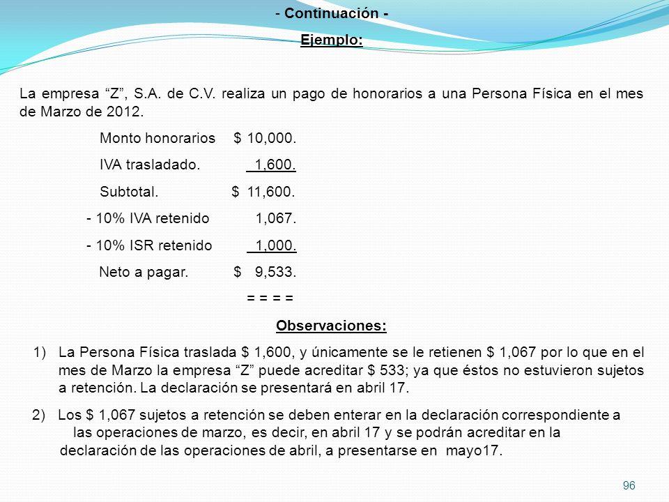 Continuación - Ejemplo: La empresa Z , S.A. de C.V. realiza un pago de honorarios a una Persona Física en el mes de Marzo de 2012.
