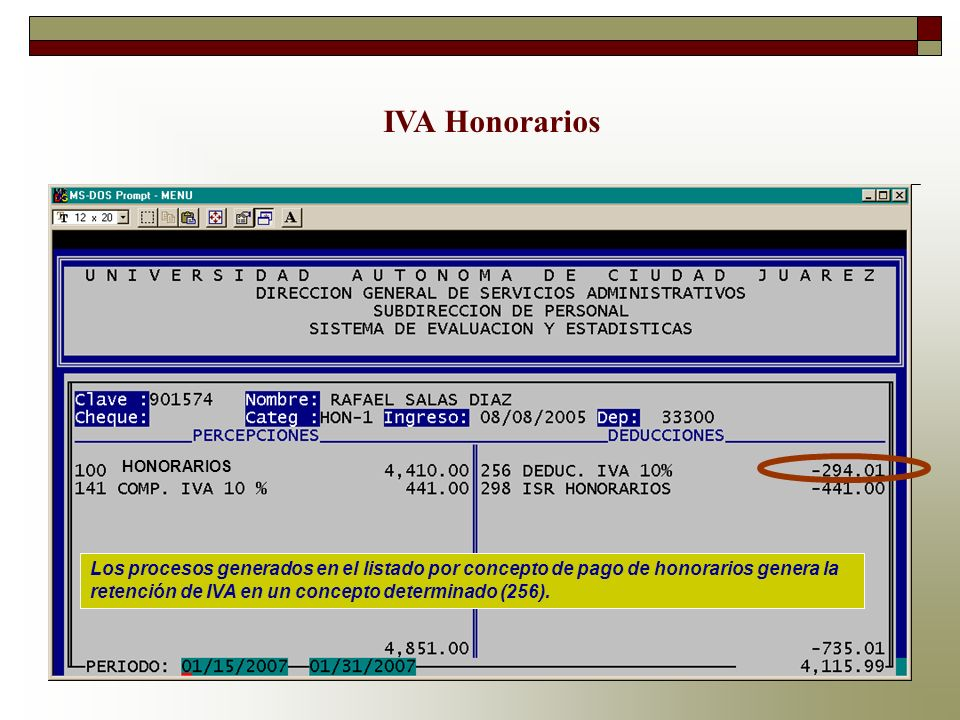 IVA Honorarios HONORARIOS.