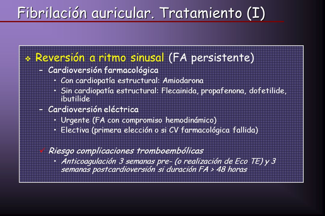 Fibrilación auricular. Tratamiento (I)