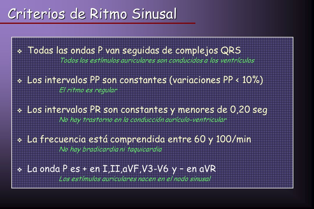 Criterios de Ritmo Sinusal
