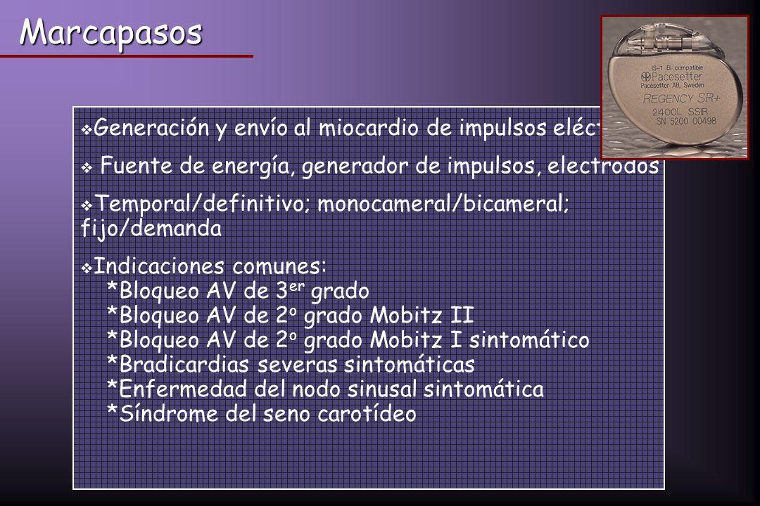 Marcapasos Generación y envío al miocardio de impulsos eléctricos