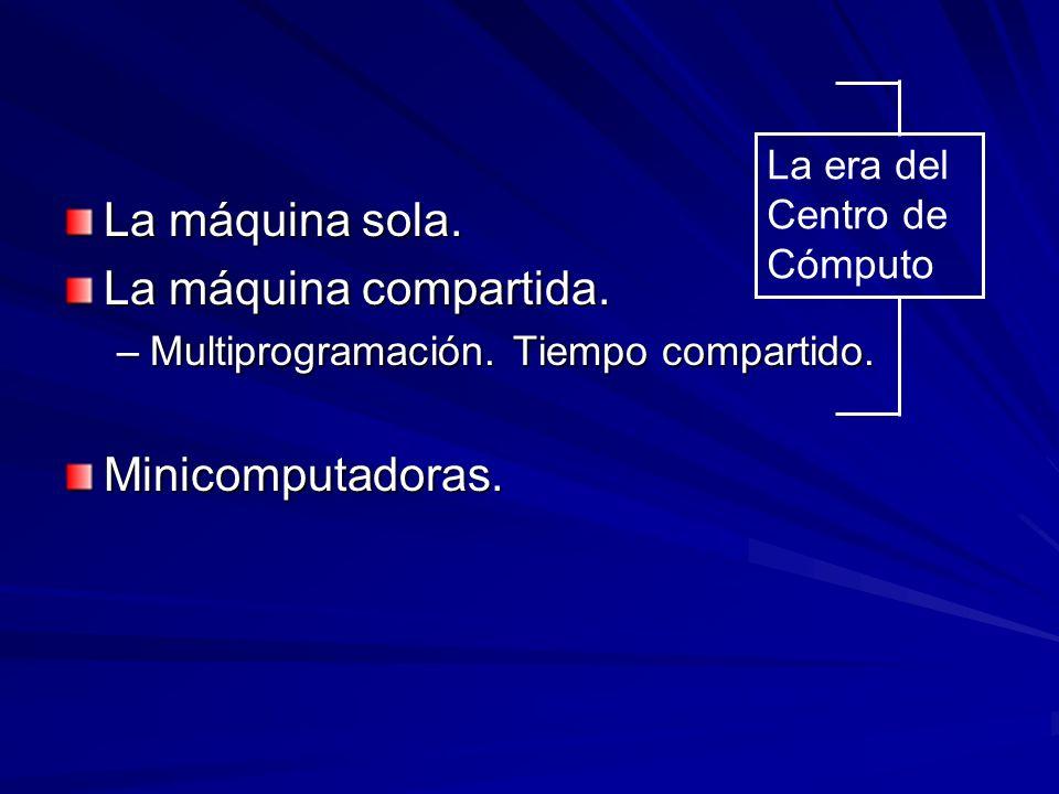 La máquina sola. La máquina compartida. Minicomputadoras.
