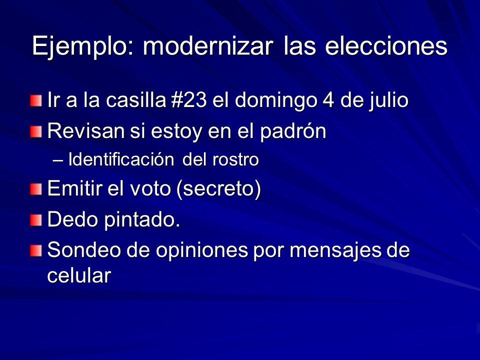 Ejemplo: modernizar las elecciones