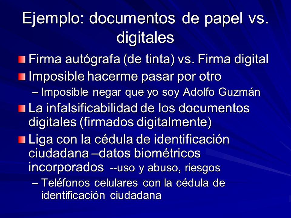 Ejemplo: documentos de papel vs. digitales