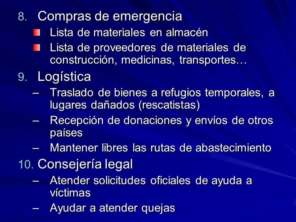 Compras de emergencia Logística Consejería legal