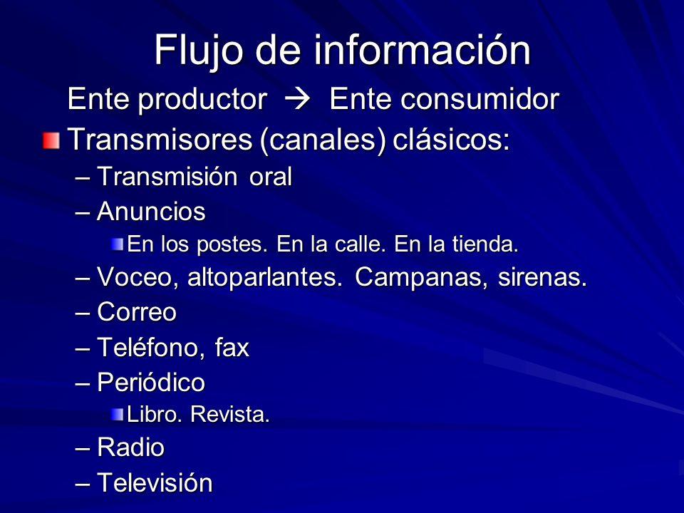Flujo de información Ente productor  Ente consumidor