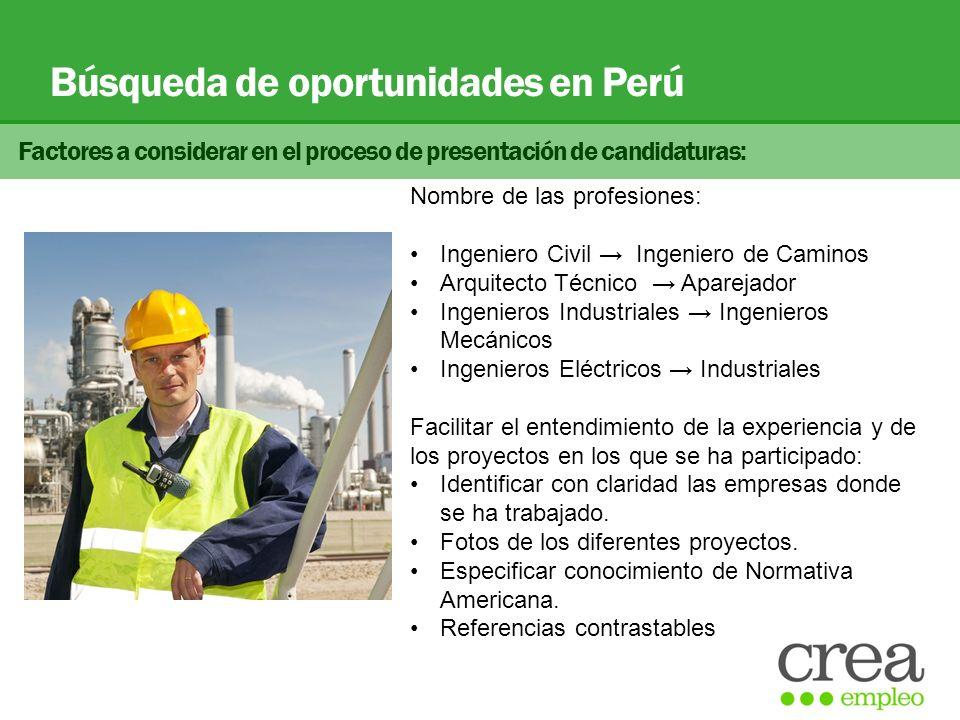 Búsqueda de oportunidades en Perú