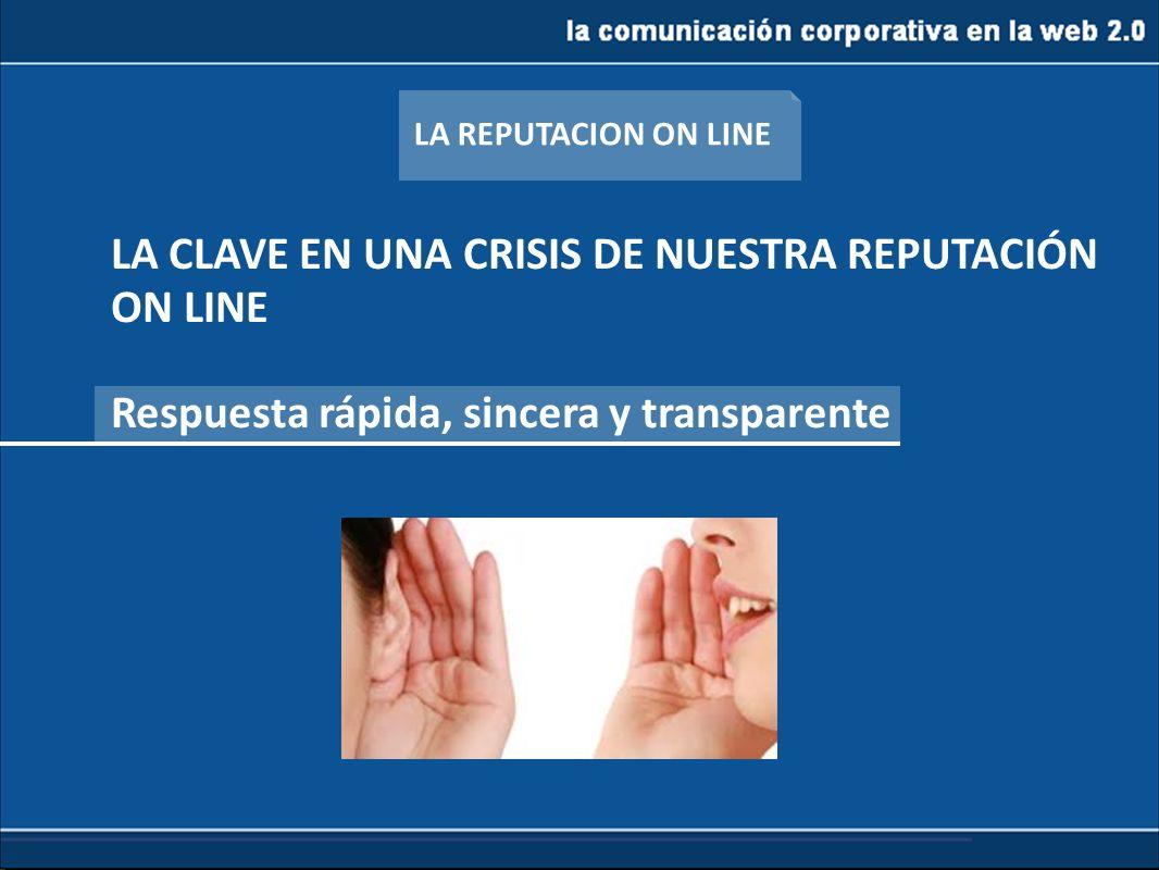 LA CLAVE EN UNA CRISIS DE NUESTRA REPUTACIÓN ON LINE