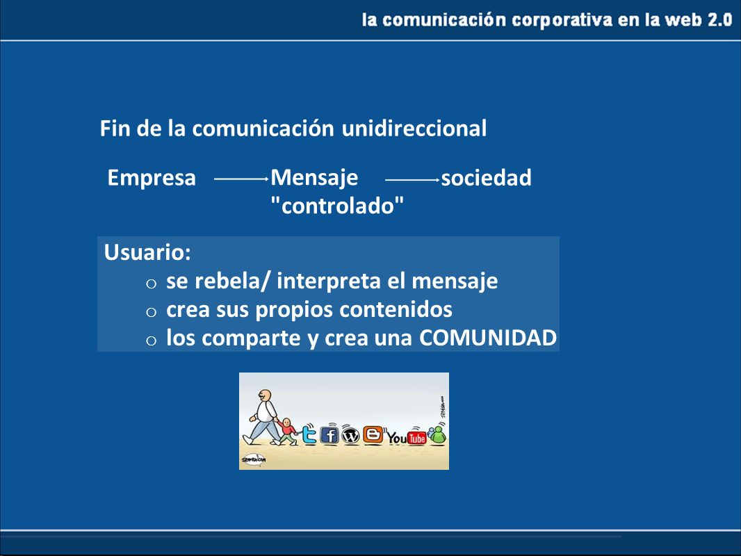 De la web1.0 a la 2.0 Fin de la comunicación unidireccional Empresa