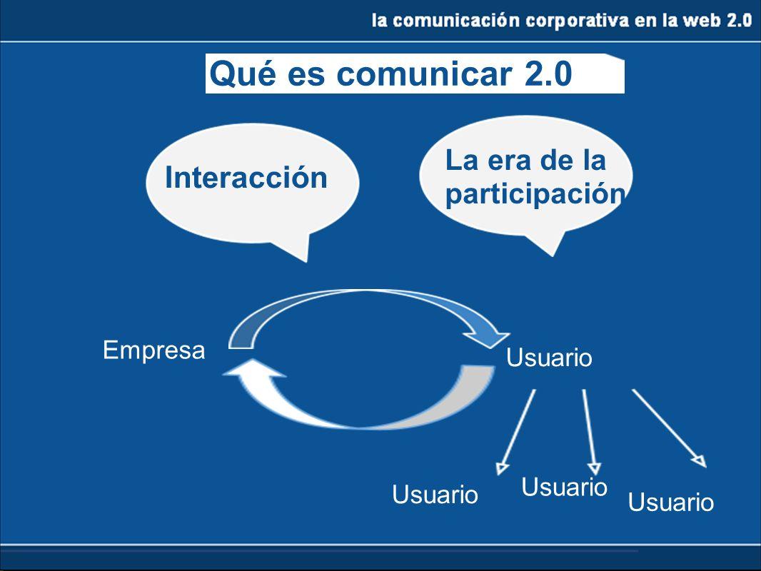Qué es comunicar 2.0 Interacción La era de la participación Empresa