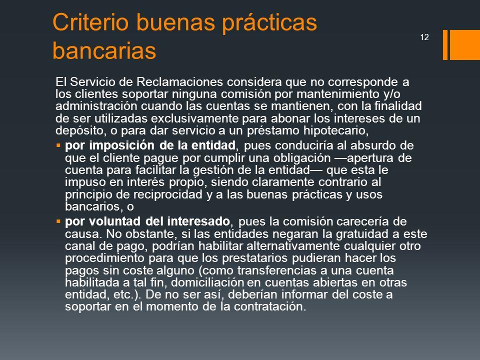 Criterio buenas prácticas bancarias