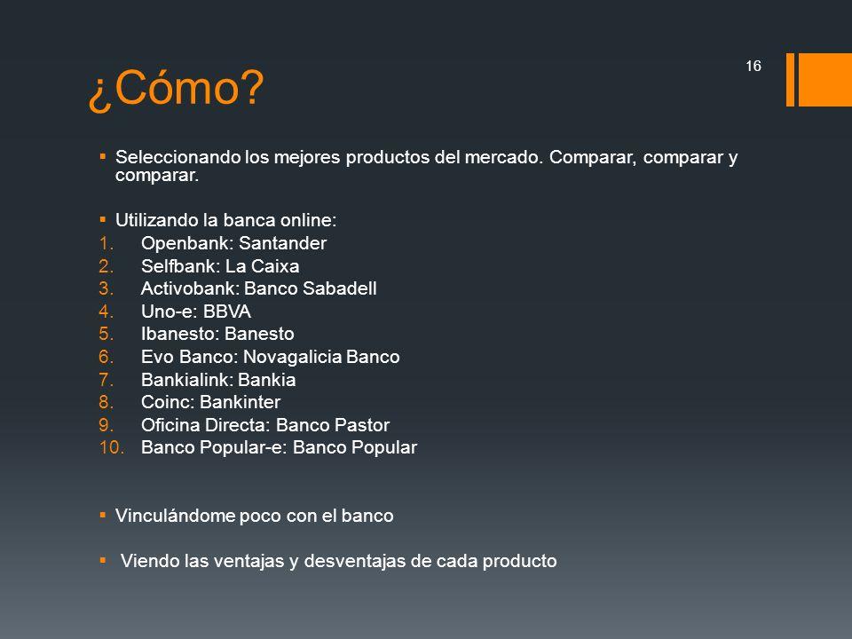 ¿Cómo Seleccionando los mejores productos del mercado. Comparar, comparar y comparar. Utilizando la banca online: