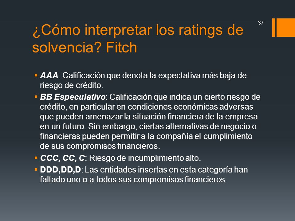 ¿Cómo interpretar los ratings de solvencia Fitch