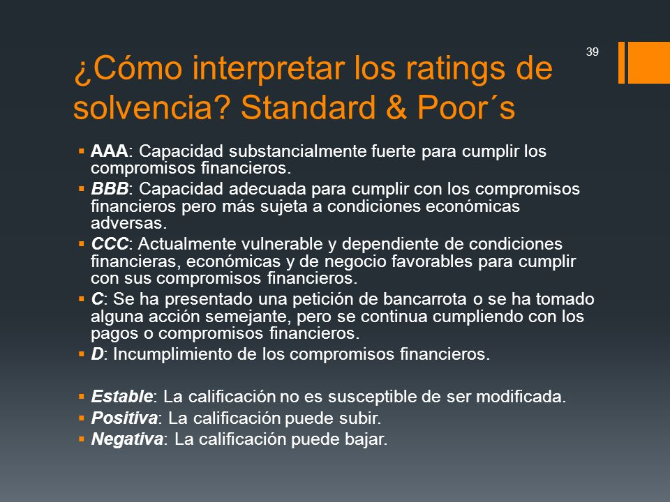 ¿Cómo interpretar los ratings de solvencia Standard & Poor´s