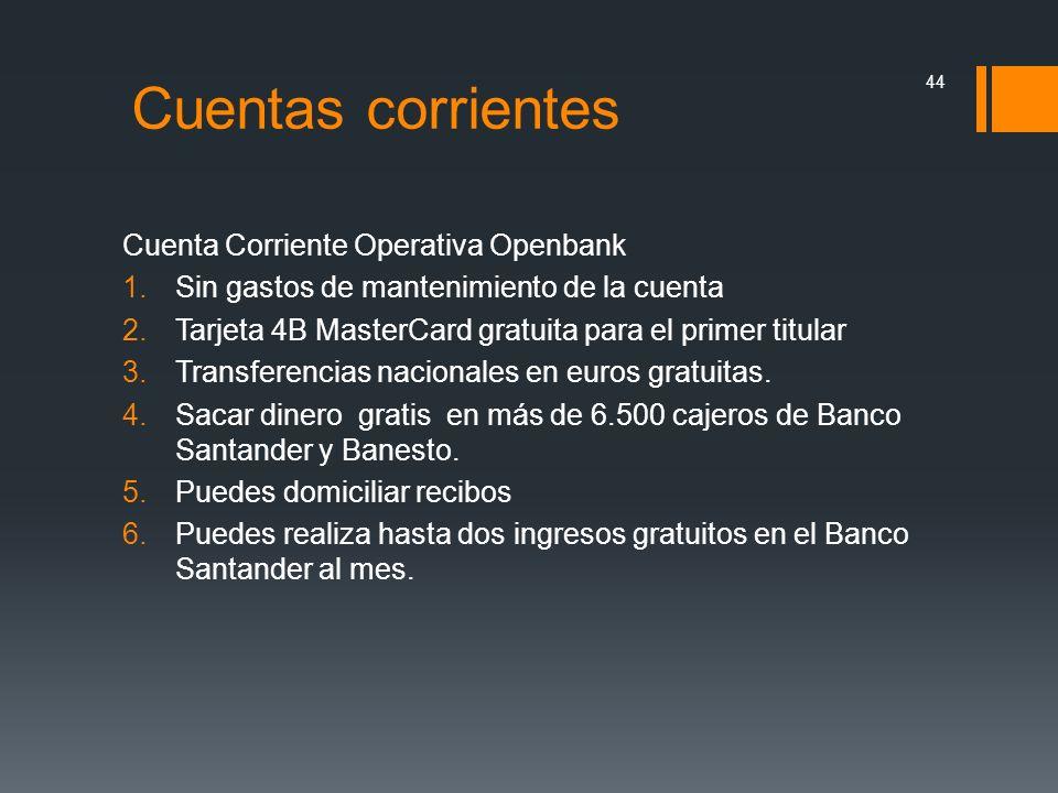 Cuentas corrientes Cuenta Corriente Operativa Openbank
