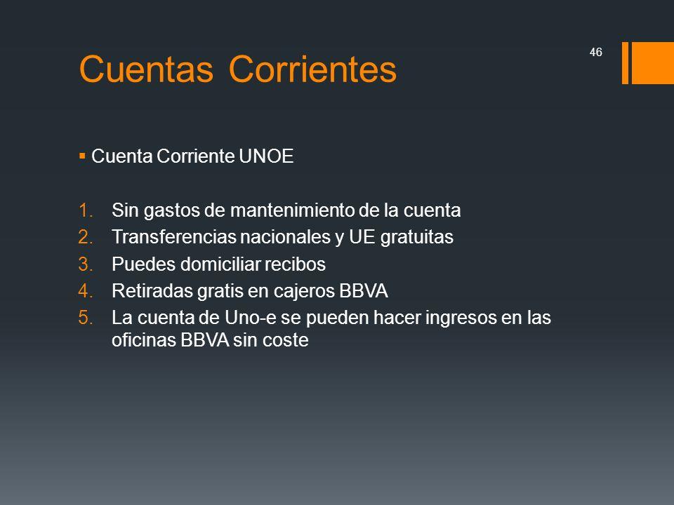 Cuentas Corrientes Cuenta Corriente UNOE
