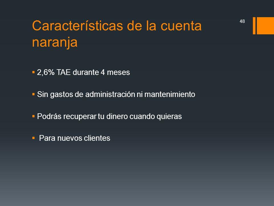 Características de la cuenta naranja