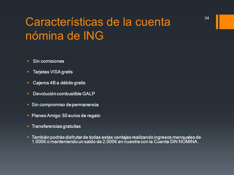 Características de la cuenta nómina de ING