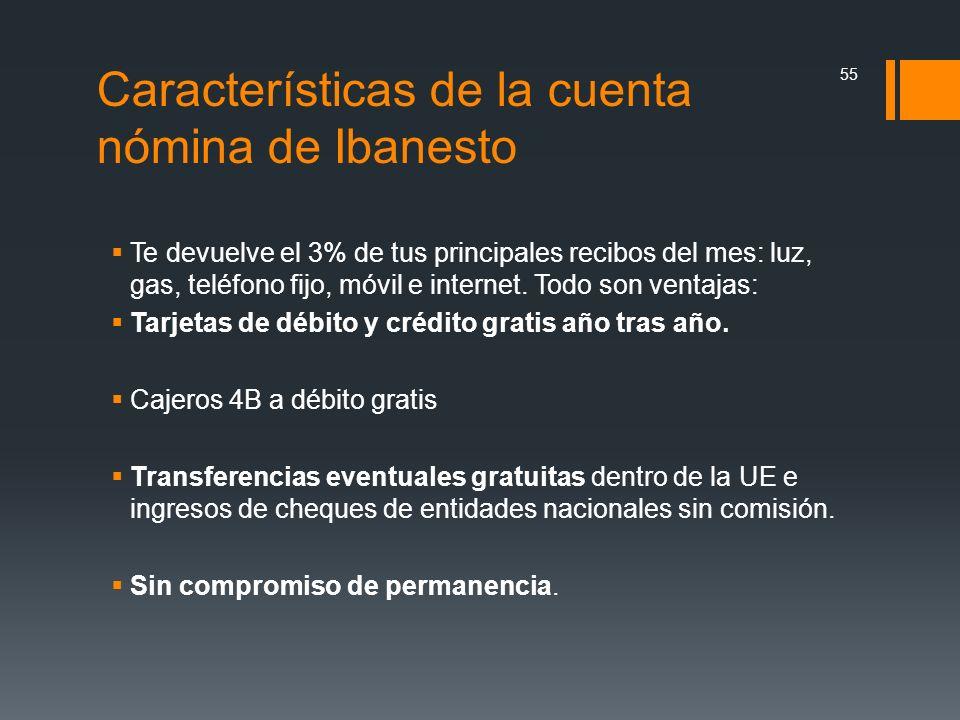Características de la cuenta nómina de Ibanesto