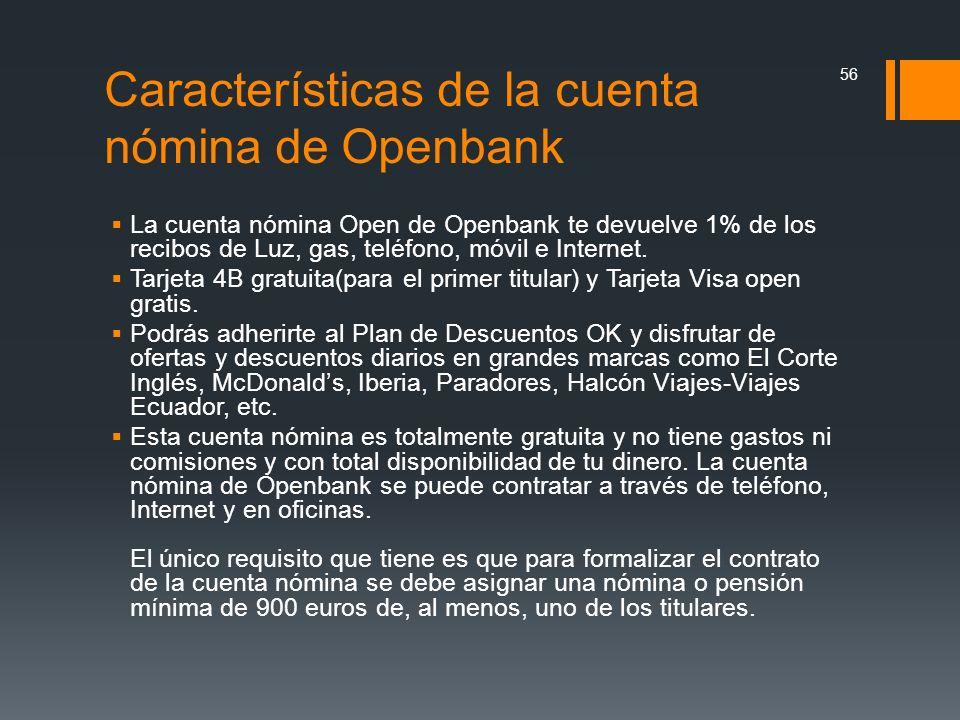 Características de la cuenta nómina de Openbank