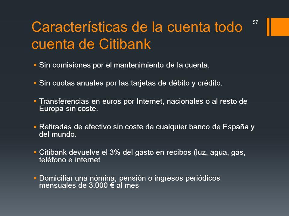 Características de la cuenta todo cuenta de Citibank
