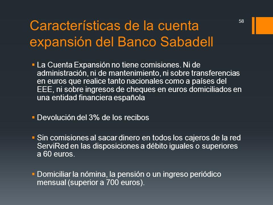 Características de la cuenta expansión del Banco Sabadell