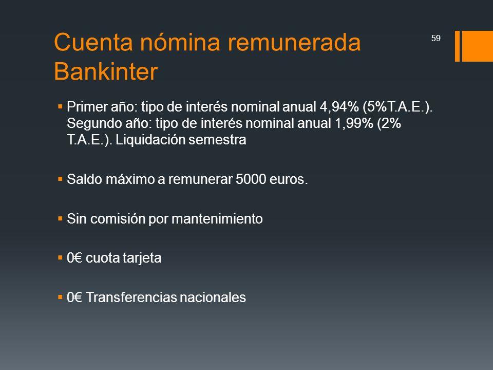 Cuenta nómina remunerada Bankinter