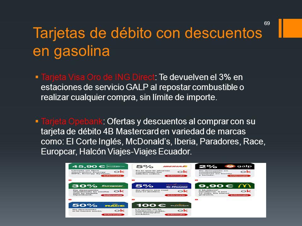 Tarjetas de débito con descuentos en gasolina