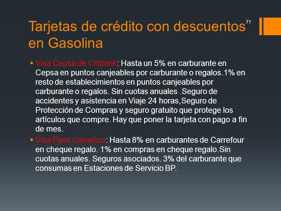 Tarjetas de crédito con descuentos en Gasolina