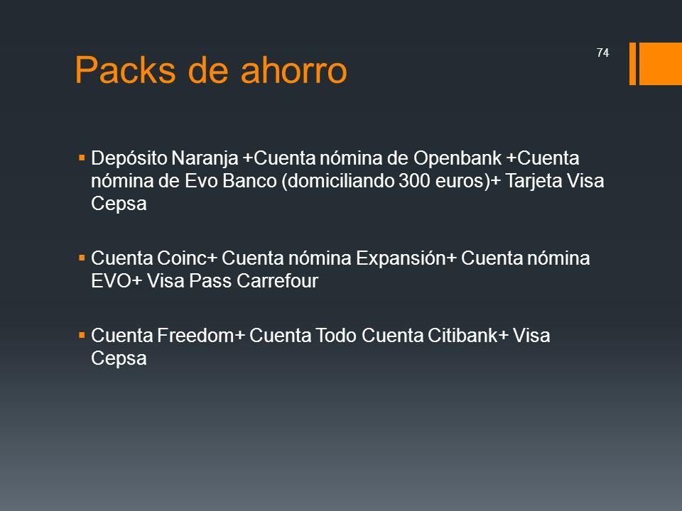 Packs de ahorro Depósito Naranja +Cuenta nómina de Openbank +Cuenta nómina de Evo Banco (domiciliando 300 euros)+ Tarjeta Visa Cepsa.
