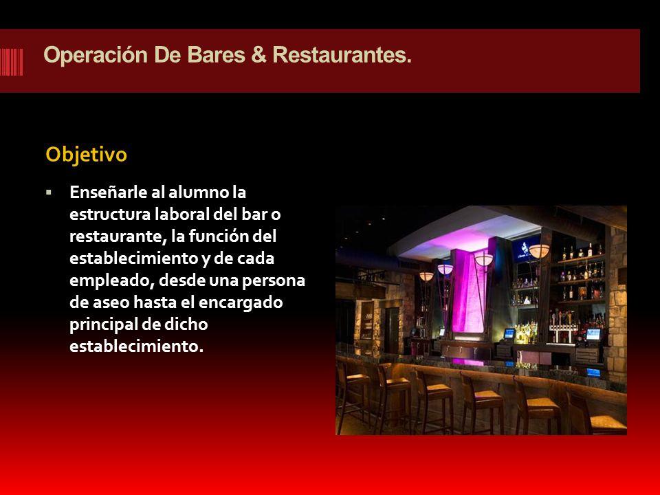 Operación De Bares & Restaurantes.