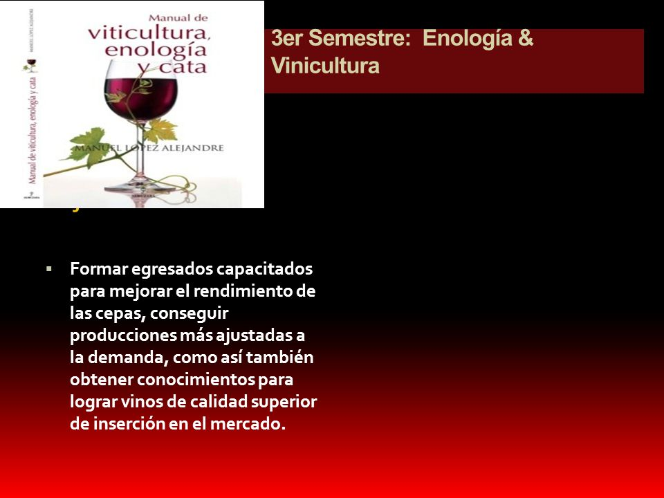 3er Semestre: Enología & Vinicultura